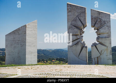 the sweeping white concrete slabs commemorating fallen Partisan fighters at the Kadinjača Memorial Complex, Serbia - Stock Photo