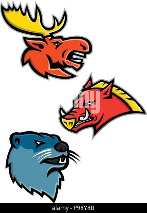 Sports mascot icon illustration set of heads of North American wildlife like the bull moose or elk, razorback, feral pig, wild hog or boar and the riv - Stock Photo