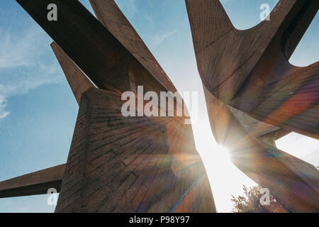 the towering, pointy poured concrete of the Monument to the Fallen Soldiers of the Kosmaj Detachment, Serbia - Stock Photo