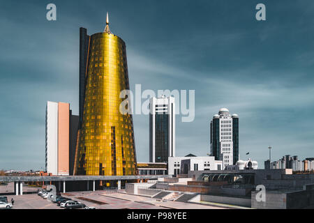 Elevated panoramic city view over Astana in Kazakhstan with Golden Towers aka the Beer Cans and presidential building Ak Orda  - Stock Photo