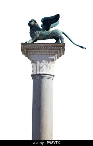 Winged Lion statue, symbol of Venice isolated on white, clipping path included - Stock Photo
