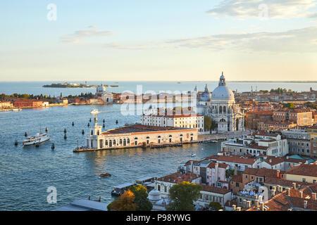 Santa Maria della Salute church aerial view in Venice with punta della Dogana before sunset, Italy - Stock Photo