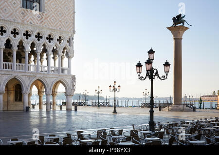 San Marco square at sunrise, nobody in Venice, Italy - Stock Photo