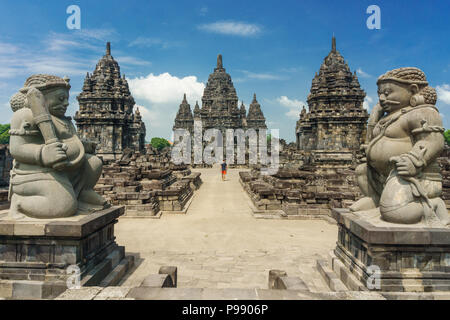 Sewu temple - Candi Sewu, eighth century Mahayana Buddhist temple located 800 meters north of Prambanan in Central Java, Indonesia. - Stock Photo