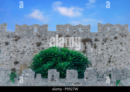 Castle wall like block pattern of medieval concrete background - Stock Photo