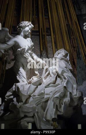 Europe. Italy,Rome,Church of Santa Maria della Vittoria,sculpture by Gian Lorenzo Bernini in the Cornaro chapel. - Stock Photo
