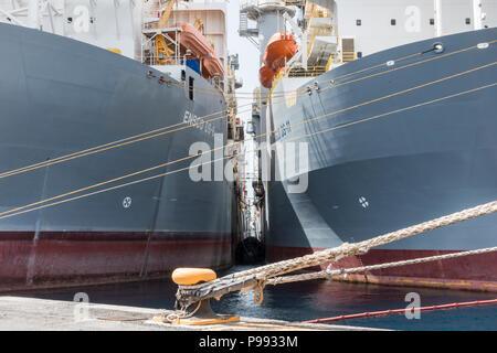 Ensco drillships in Puerto de La Luz in Las Palmas on Gran Canaria, Canary Islands, Spain Stock Photo