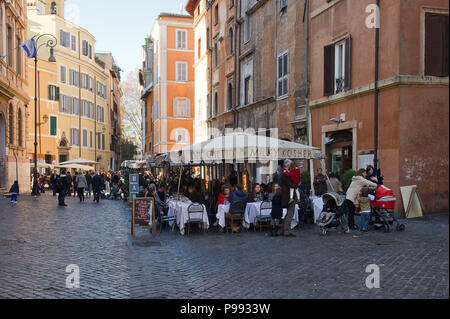 Europe. Italy,Rome,restaurants and trattorias in the Jewish ghetto. Via Portico d'Ottavia - Stock Photo