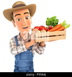 3d farmer holding crate of vegetables, illustration with isolated white background - Stock Photo