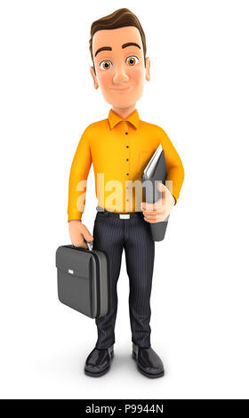 3d man standing and holding briefcase, illustration with isolated white background - Stock Photo