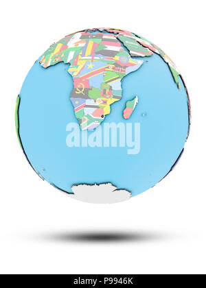 Swaziland on political globe with national flags isolated on white background. 3D illustration. - Stock Photo