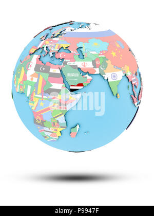 Yemen on political globe with national flags isolated on white background. 3D illustration. - Stock Photo