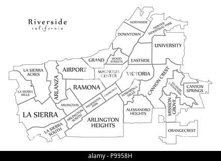 Modern City Map - Riverside California city of the USA Stock Vector ...