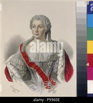 Portrait of Princess Anna Leopoldovna (1718-1746), tsar's Ivan VI mother. Museum: Russian State Library, Moscow. - Stock Photo