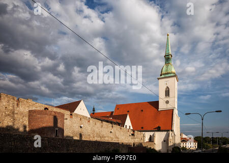 St. Martin Cathedral and old city wall in Bratislava, Slovakia - Stock Photo