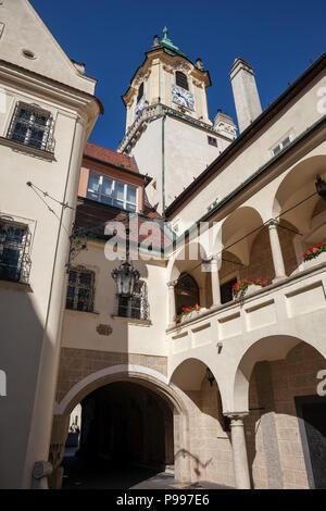 Old Town Hall in Bratislava, Slovakia, city landmark dating back to the 14th century - Stock Photo