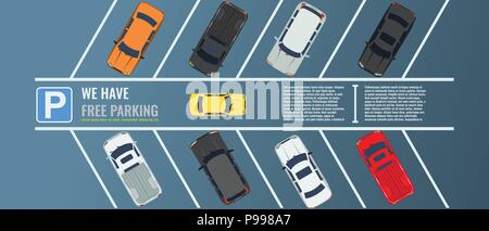 City parking lot with a group of different cars top view. Public car-park. Vector Flat illustration for web or poster banner. - Stock Photo