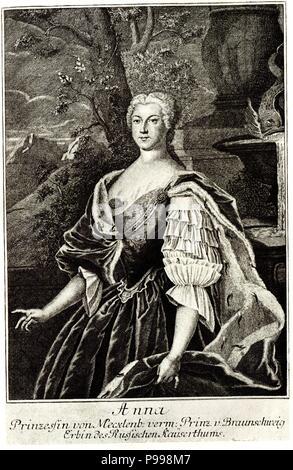 Portrait of Princess Anna Leopoldovna (1718-1746), tsar's Ivan VI mother. Museum: PRIVATE COLLECTION. - Stock Photo