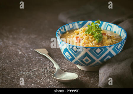 Red lentil soup - Stock Photo