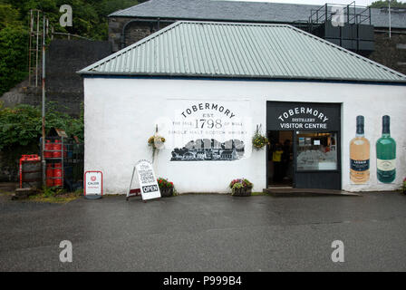 Tobermory Island Single Malt Whisky Distillery Isle of Mull Scotland exterior view of white painted premises building and entrance to 1798 tobermory d - Stock Photo