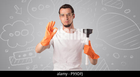 Male housekeeper with and without head with grey doodled wallpaper  - Stock Photo