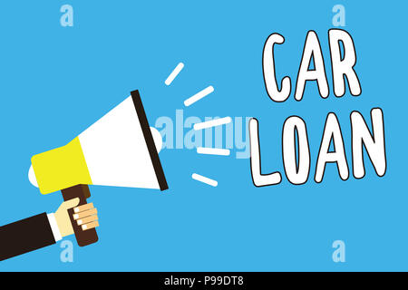 Conceptual hand writing showing Car Loan. Business photo text taking money from bank with big interest to buy new vehicle Man holding megaphone loudsp - Stock Photo