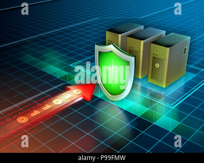 Firewall protecting some servers from external attacks - Stock Photo