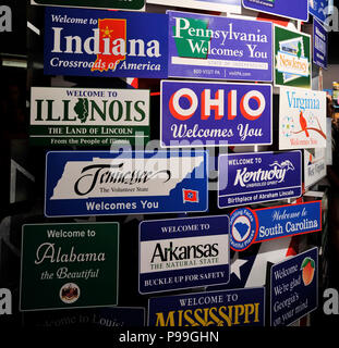 Milan, Italy – June 30 2015: Welcome plates of the main American states in a single panel. Nevada, Utah, Nebraska, Oregon, Idaho, California, Kansas a - Stock Photo