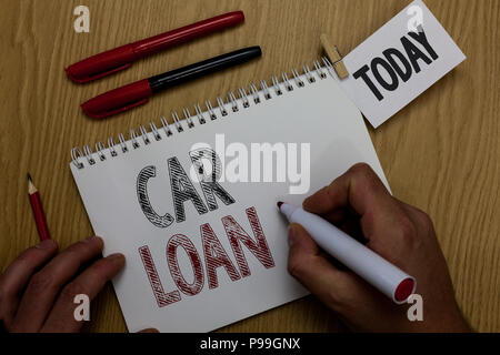 Conceptual hand writing showing Car Loan. Business photo showcasing taking money from bank with big interest to buy new vehicle Man holding marker not - Stock Photo