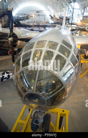 B-29 Superfortress bomber Enola Gay dropped the first Atomic Bomb, on Hiroshima, Japan, August 1945. On permanmnet display at the Steven F. Udvar-Hazy - Stock Photo