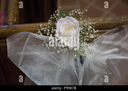 Wedding Day Decorations On Church Door White Ribbon With Single