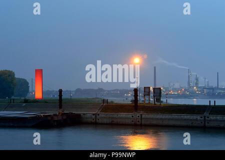 Germany, North Rhine-Westphalia landmark Rheinorange in Duisburg harbor - Stock Photo