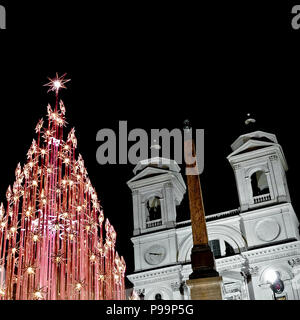 Rome Christmas led lights tree, at the Spanish Steps, Trinità dei Monti, Piazza di Spagna at night. Italy, Europe. Christmastime, Xmas. - Stock Photo