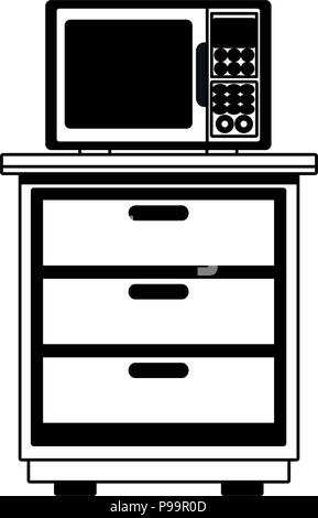 Microwave on cabinet vector illustration graphic design - Stock Photo