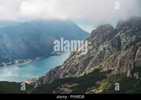 the view of the inlet from the road down into Kotor, Montenegro - Stock Photo