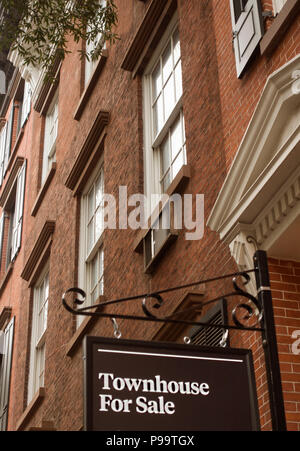 Townhouses in West Village NYC - Stock Photo