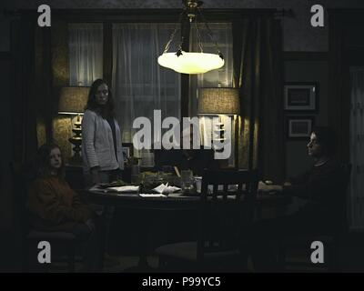 Original Film Title: HEREDITARY.  English Title: HEREDITARY.  Film Director: ARI ASTER.  Year: 2018.  Stars: TONI COLLETTE; GABRIEL BYRNE; ALEX WOLFF; MILLY SHAPIRO. Credit: PalmStar Entertainment / Windy Hill Pictures / Album - Stock Photo