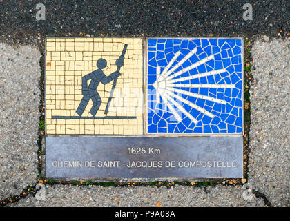 Camino de Santiago pilgrimage sign in Chartres, France. The sign reads: 1625 km Way of St James. - Stock Photo