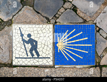 Camino de Santiago pilgrimage sign in Chartres, France. - Stock Photo