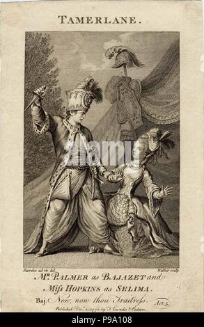 Mr Palmer as Bajazet and Miss Hopkins as Selima in Tamerlane by Nicholas Rowe. ('Now, now, thou traitress.'). Museum: PRIVATE COLLECTION. - Stock Photo