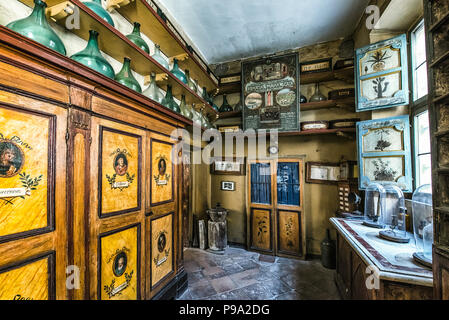 The back room of the main hall of the old Pharmacy and Apothecary 'Farmacia di S. Maria della Scala' in Piazza della Scala in Trastevere quarter, Rome, Italy - Stock Photo