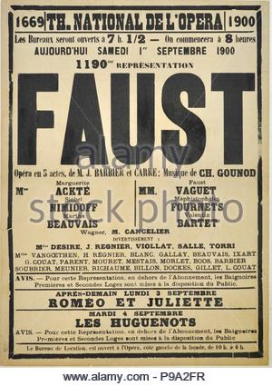 Poster for the Opera 'Faust' by Charles Gounod at the Théâtre national de l'Opéra, September 1900. Museum: Académie de France à Rome, Villa Médicis. - Stock Photo