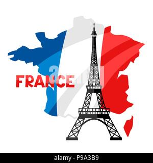 Eiffel Tower on map of France. - Stock Photo