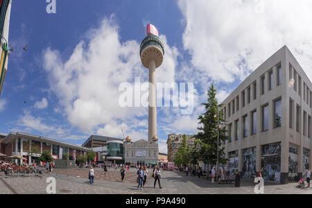 Williamson Square Liverpool. St Johns beacon tower. Radio City HQ - Stock Photo