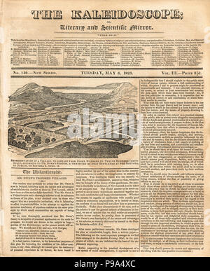 The front page of The Kaleidoscope, or literary and Scientific Mirror, 6 May 1823, reporting on Robert Owen's visit to Ireland where he outlined plans for a model village in Ireland, at the Rotunda in Dublin on 12 April 1823. - Stock Photo