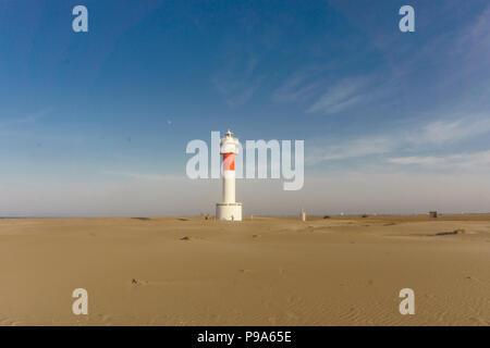 Panoramic view of Lighthouse 'el Far del Fangar' on Delta de l'ebre natural park, tarragona, Catalonia, Spain. - Stock Photo