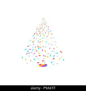 Christmas tree from confetti on white background. New Year, Christmas Vector illustration - Stock Photo