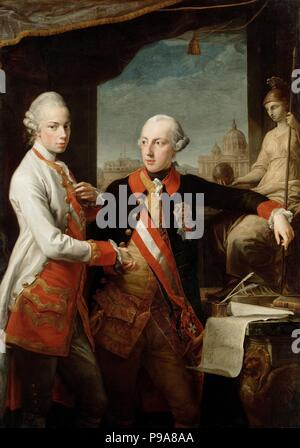 Emperor Joseph II with Grand Duke Pietro Leopoldo of Tuscany. Museum: Art History Museum, Vienne. - Stock Photo