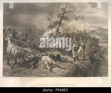 Battle between Russian troops and French cavalry near Ostrovno 25-26 July 1812. Museum: PRIVATE COLLECTION. - Stock Photo