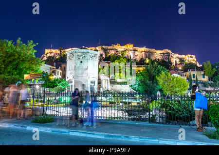 Tower of Winds or Aerides on Roman Agora, near Acropolis of Athens, Greece - Stock Photo